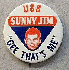 1973 SUNNY JIM U-88 GEE THAT'S ME Peanut Butter hydroplane pinback button