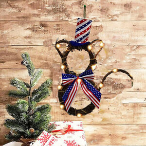 Independence Day Rattan Wreath Garland  Light Window Pendant Home Decor Wall