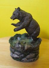 Rustic Wilderness Grizzly bear in lake hunting for fish Trinket box