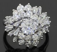 GIA heavy Platinum 3.93CT VS diamond cluster cocktail ring w/1.01CT ctr size 6.5