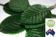 100 X Green Poly Satin Leaves Floral Florist Craft Supply 11cm Scrapbook DIY
