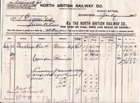 NORTH BRITISH RAILWAY CO. 1880 Edinburgh For Dues on Fuel Invoice Ref 45170