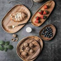 Whole Wood Irregular Oval Solid Pan Dinner Fruits Dessert Plate Tableware Set