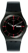 Swatch Unisex New Gent GAET Analog Uhr Datum Anzeige, schwarzes Gesicht, SUOB 714