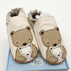 Robeez 18-24 Leather Shoes Bear Hug Cream Unisex Slippers Moccasins Baby Toddler