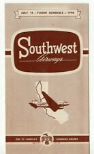SOUTHWEST  AIRLINES TIMETABLE SCHEDULE 1948