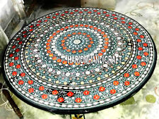 Marble Side Dining Table Top Multi Floral Inlaid Semi Precious Stone Decor H3370
