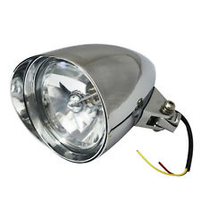 Silver LED Motorcycle Bullet Chrome Headlight Light For Harley Davidson Choppers