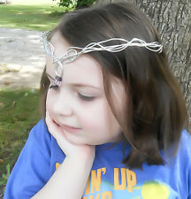 Amethyst Tiara Silver Crown Elven Tiara Wedding Tiara Elven Circlet Medieval