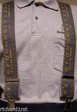 "Suspenders 2""x48"" FULLY Elastic Yardstick Yellow on Grey NEW"