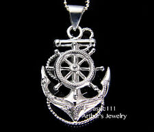 STERLING SILVER  925 HAWAIIAN SCROLL ANCHOR OF HOPE SHIP WHEEL PENDANT