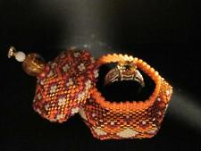 Hand Beaded Hexagon Tuffet Style Box w/ S.S. Citrine Ring...HANDMADE