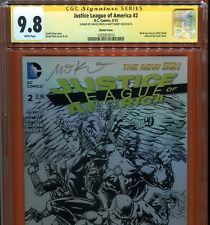Justice League Of America 2 1:100 Sketch Variant CGC 9.8 Signed By Finch + Kindt