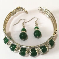 Tibetan Silver Bangle Green Jade Stone Woman Bracelet Earring Set Ladies Bangle