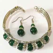 Woman Bracelet Earring Set Ladies Bangle Tibetan Silver Bangle Green Jade Stone