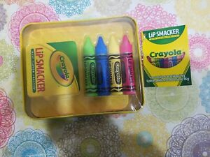 Lip Smacker Crayola Lip Balm in Tin 4 Pc Set Razzmatazz Banana Blue Berry Apple