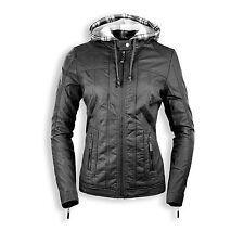 NEW Women Ladies Plaid Hooded Leather Zip Up Jacket Pocket Hoody Long Sleeve