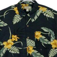 Tommy Bahama Men Silk Hawaiian Camp Shirt Medium Short Sleeve Black Green Yellow