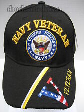 U.S. NAVY VETERAN Cap/Hat Flag V Military Black**Free Shipping**