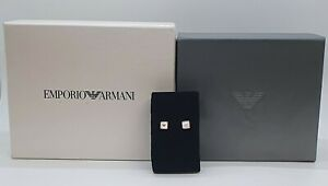 Emporio Armani Steel logo earrings in rose gold tone and mother-of-pearl