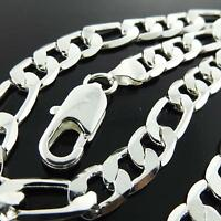 """Necklace Chain Real 925 Sterling Silver S/F Solid Mens Heavy Figaro Link 24"""""""