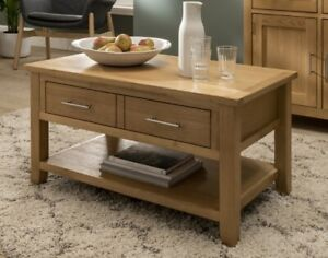 Nebraska Oak Coffee Table With 1 Large Drawer & Shelf   Lounge Storage Table