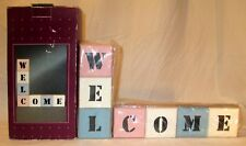 "Wood Block Welcome Sign Wooden Wall Plaque Country Lodge Decor 12"" L x 7"" H"