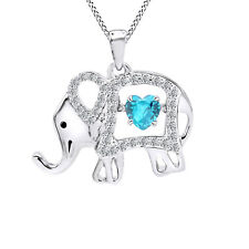 Created Blue Topaz & White Sapphire Elephant Floater Pendant 925 Sterling Silver