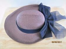 VINTAGE WOMEN'S PUCE COLORED HAT WITH LARGE BLUE BOW MADE IN TAIWAN R.O.C.