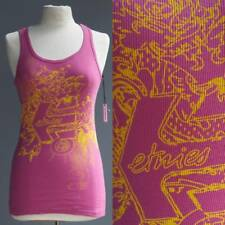 Etnies Pink Cotton Sleeveless Body Con T Tee Shirt Ribbed Cotton NWT New S M