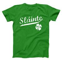 Slainte Irish Cheers Clover Funny Gaelic Celtic Party Pride Green Men's T-Shirt