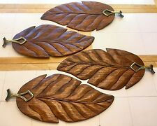 "4 Wood Carved 24"" Palm Tropical Leaf Wooden Ceiling Fan Blades Leaves W/Brackets"