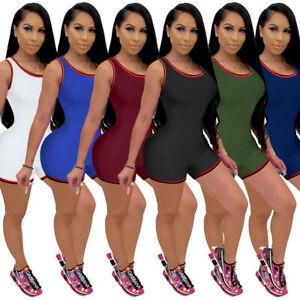 2021 NEW Fashion Women Solid Tank Bodycon Short Jumpsuit Sporty Romper Knitting