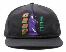 OBEY El Magico Hombre 100% Nylon Ajustable Gorra Snapback Negro Nuevo