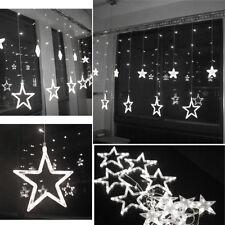 Cool White 12 Twinkling Stars Christmas Fairy String Lights Window Display 48LED