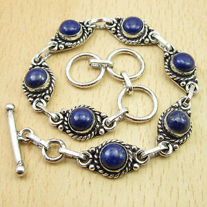 """ADULT Bracelet ! Real LAPIS LAZULI Gem Silver Plated Jewelry 8"""" Flawless Fit"""