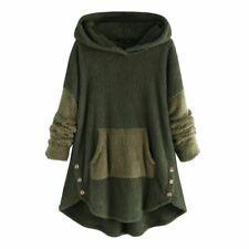 Hoodies Women Fleece Button Long Sleeves Warm Sweatshirts Hoodies Streetwear