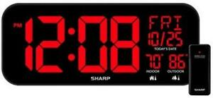 Large Oversized Screen LED Clock with Indoor and Outdoor Temperature 14 inch
