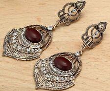 Long Ear Stud Hoop earrings 238 Woman's Red Crystal Rhinestone Silver Plated