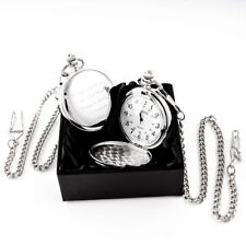 Chrome Analog Pocket Watches with 12-Hour Dial