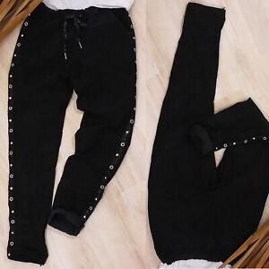 Italy Hose Jogpants 36 38 40 42? schwarz Damen Stoffhose Nieten Streifen crush