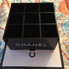 "CHANEL Beauty GIFT Black Glossy Makeup Organizer Holder ""9 Slots Style"" With BOX"