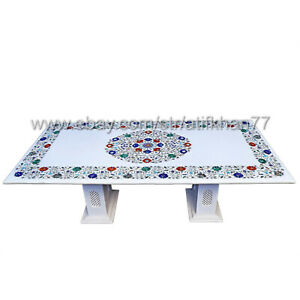 Marble Inlay Coffee Table Semiprecious Stone Dining Top Center Table Patio Table