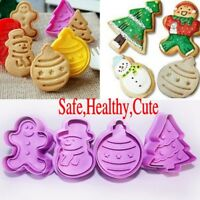 4Pcs Christmas Cookie Biscuit  Plunger Cutter Mould Fondant Cake Mold Baking BW
