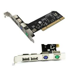 PCI 32bit to 2xUSB 2.0+2xPS2 PS/2 Port For PC Keyboard Mouse Combo Adapter Card