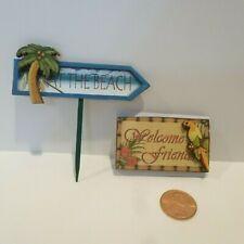 """DOLLHOUSE 1:12 Miniature 3-D Beach Picture Sign /""""Please Remove Shoes/"""" w//2 Palms"""