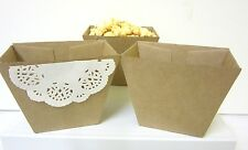 24x BROWN KRAFT Lolly Candy BOXES CUPS CHIP CUP POPCORN CUP SNACK BOX CRAFT