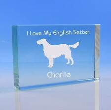 More details for  english setter dog memorial, personalised engraved dog paperweight, setter gift