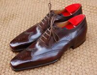 New Handmade Men's Red Maroon Wing Tip Brogues Oxford Leather Shoes
