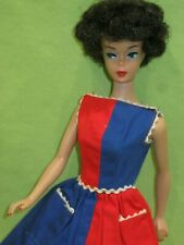 Vintage 1960's Barbie Bubblecut Raven Hair Red Lip Tlc Display Doll in Dress